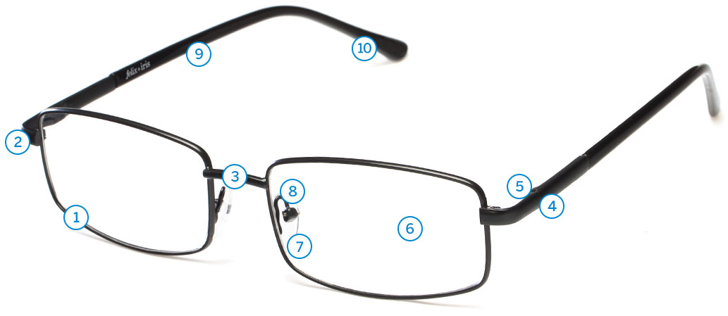 Glasses Frame Part Names : Glasses Diagram felix + iris